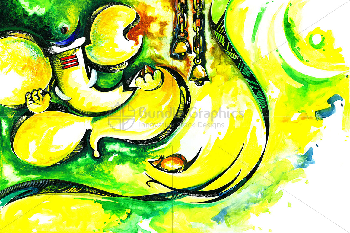 Lord Ganesha -Handmade  Abstract Painting