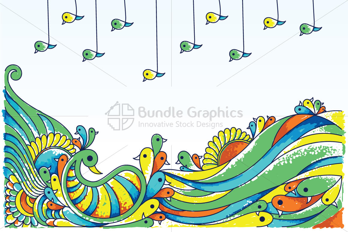 Royalty Free Ornamental Peacock Birds Vector Illustration