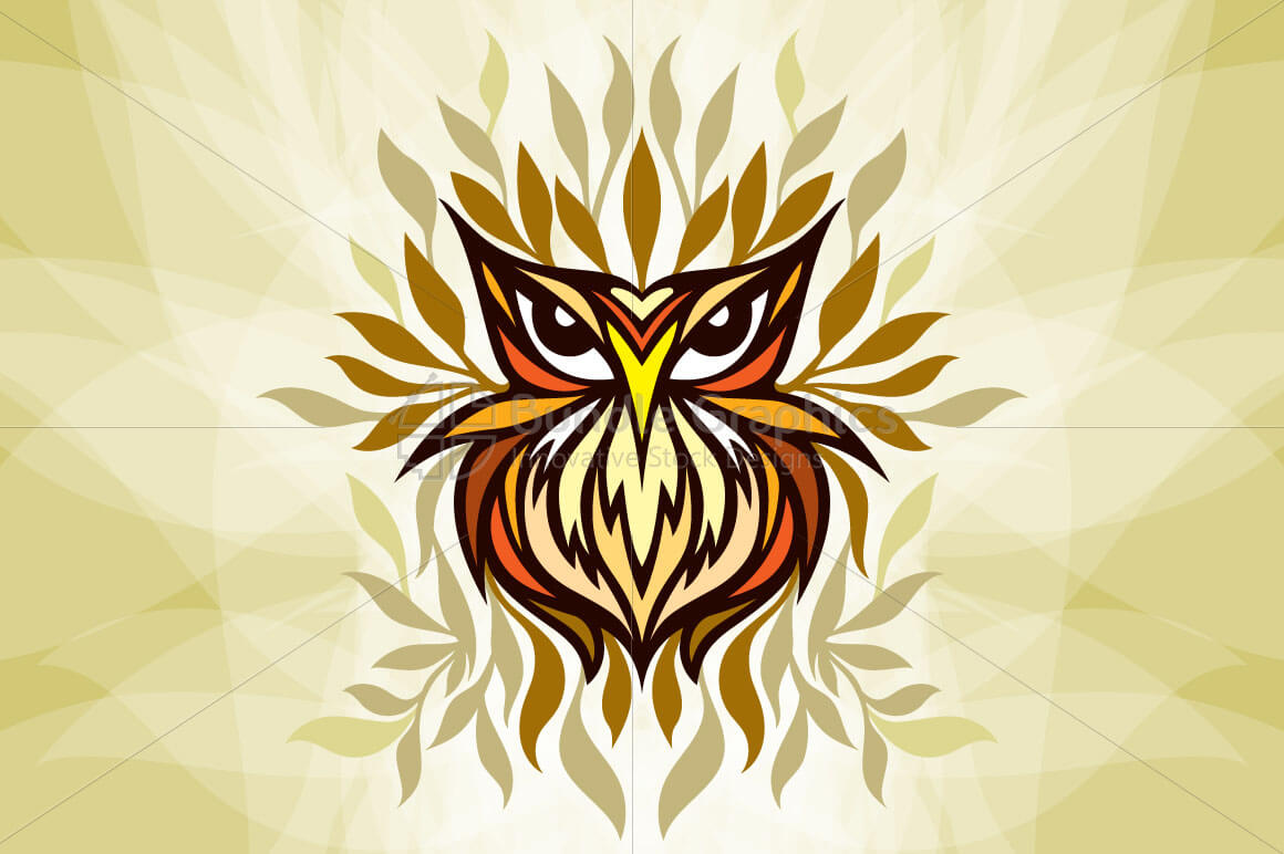 Staring Owl - Creative Tribal Style Mirror Graphic of Bird