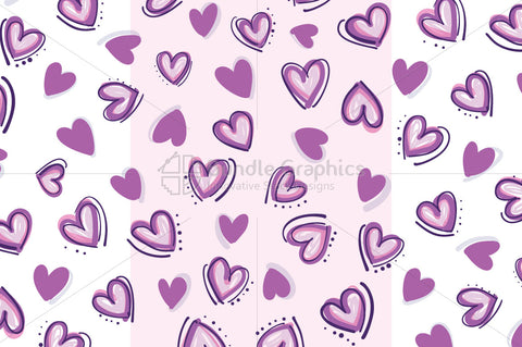 Random Hearts - Freehand Organic Shapes Random Background