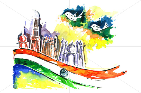Handmade abstract art in watercolour representing Independent India