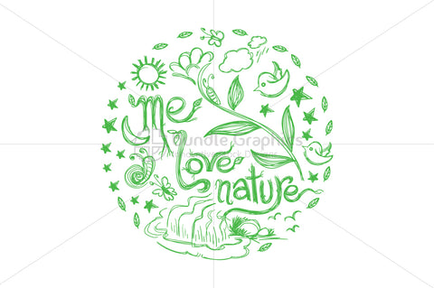 Me Love Nature - Scribble Textual Design Composition