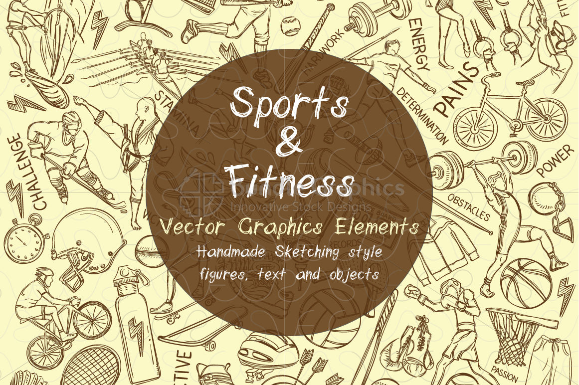 Sports and Fitness - Graphical Iconic Pattern