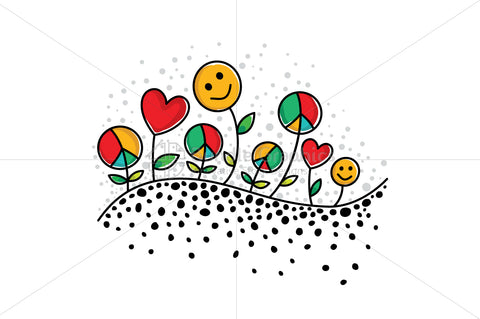 Sow Peace, Grow Love, Get Happiness - Vector Illustration