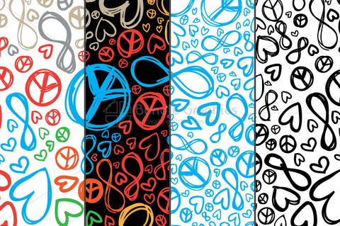 Love, Peace, Infinity - Colorful Pattern Set