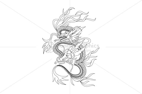 Royalty Free Black Vector Illustration of Dragon