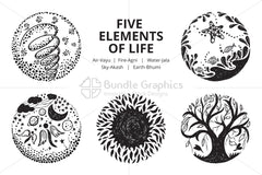 Five Elements of Life - Illustrative Icons