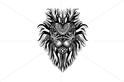 Lion Head Trible Style Vector Illustration