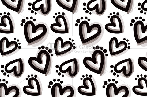 Bold Hearts - Freehand Organic Shapes Seamless Background