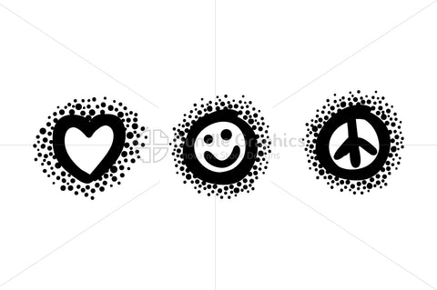 Love Smile Peace - Bold Linear Simple Illustration Iconic Graphics