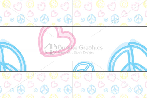 Freehand Style Love, Peace, Balance Pattern Set