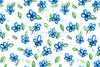 Blue Flowers - Freehand Floral Five Leave Flower Seamless Background