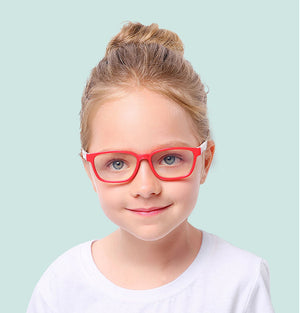 Blue Light Blocking Computer Screen Reading Glasses for Kids Ages [3-9] - Malik - Blue Light Blocking Glasses Computer Gaming Reading Anti Glare Reduce Eye Strain Screen Glasses by Teddith