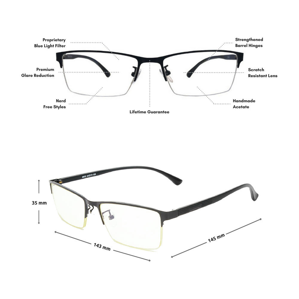 Blue Light Glasses for Computer Anti Glare Half Rim Rectangle Frame - Blue Light Blocking Glasses Computer Gaming Reading Anti Glare Reduce Eye Strain Screen Glasses by Teddith