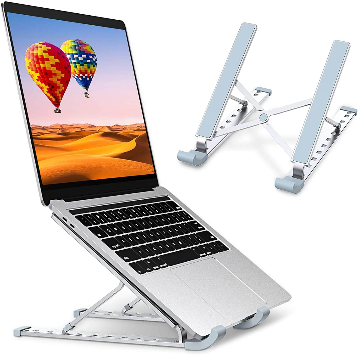 Aluminum Laptop Stand 9 Angles Adjustable Holder Ergonomic Foldable Portable Computer Tablet Stand - Teddith - US
