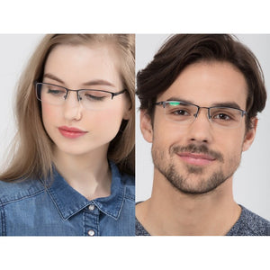 Blue Light Glasses for Computer Anti Glare Half Rim Rectangle Frame - Teddith - US