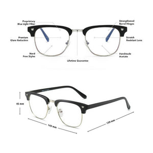 Blue Light Blocking Glasses - Clubmaster (2 Pack) - Blue Light Blocking Glasses Computer Gaming Reading Anti Glare Reduce Eye Strain Screen Glasses by Teddith