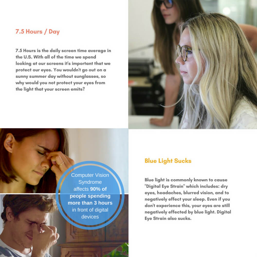 Blue Light Glasses for Computer Reading Gaming - Benny - Blue Light Blocking Glasses Computer Gaming Reading Anti Glare Reduce Eye Strain Screen Glasses by Teddith