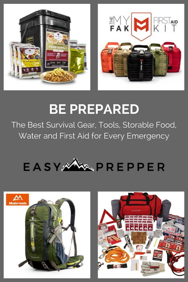 Survival gear tools water storable food flashlights first