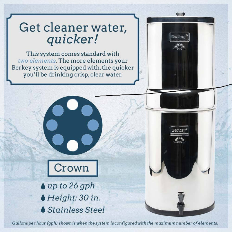 Crown Berkey™ System (6 gal) with 6 Water Filters