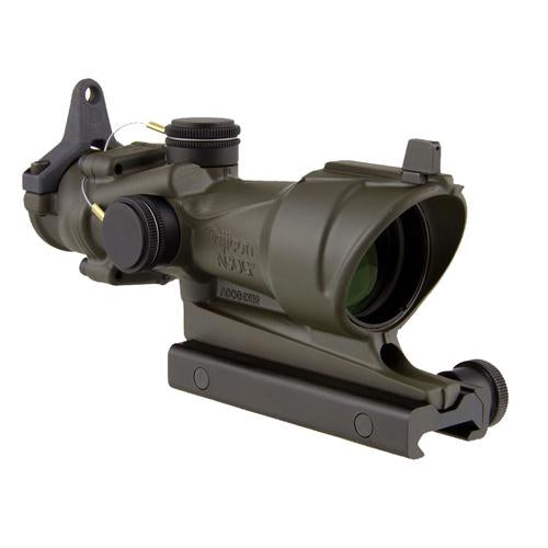ACOG 4x32mm Center Illumination Scope - Amber for M4A1 with Flat Top Adapter-Backup Iron Sights, Cerakote OD Green