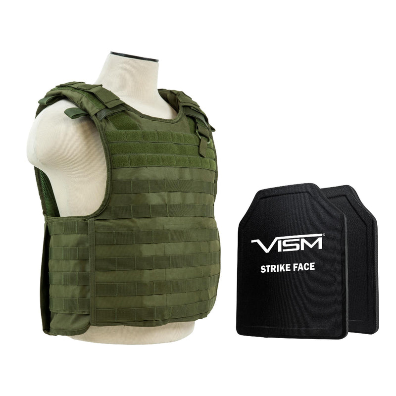 "Plate Carrier Vest with 10"" x 12"" PE Hard Plates - Green"