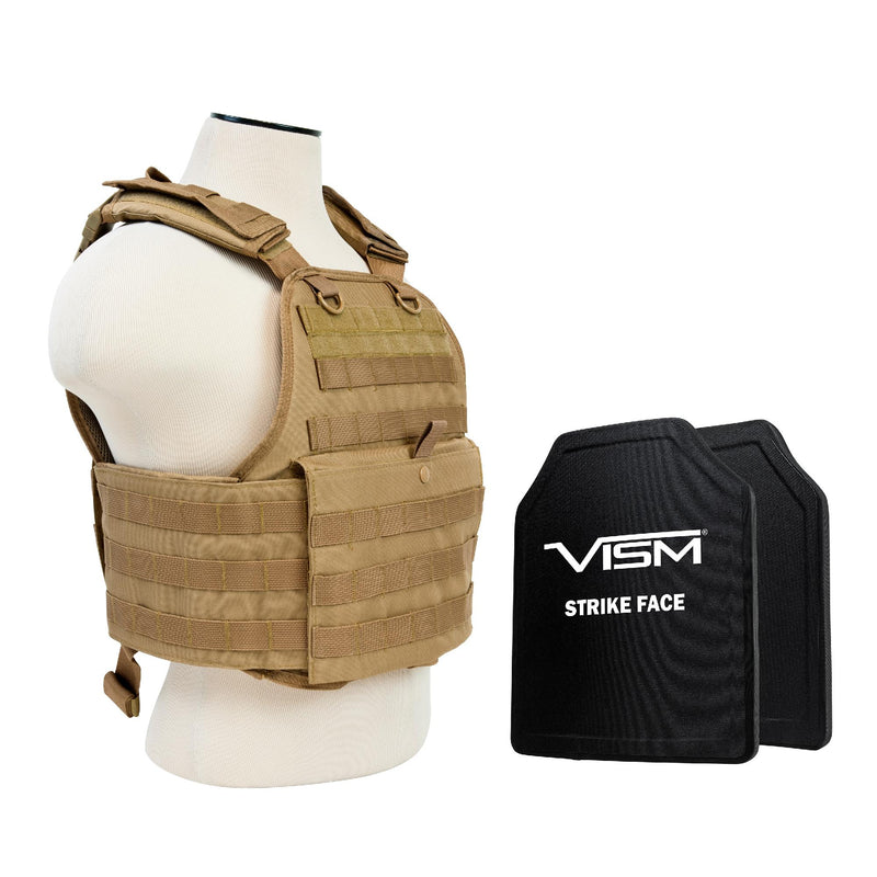 "Plate Carrier Vest with 10"" x 12"" PE Hard Plates - Tan"