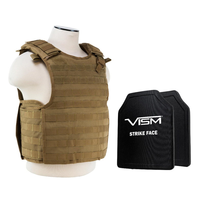 "QR Carrier Vest with 10"" x 12"" PE Hard Plates - Tan"