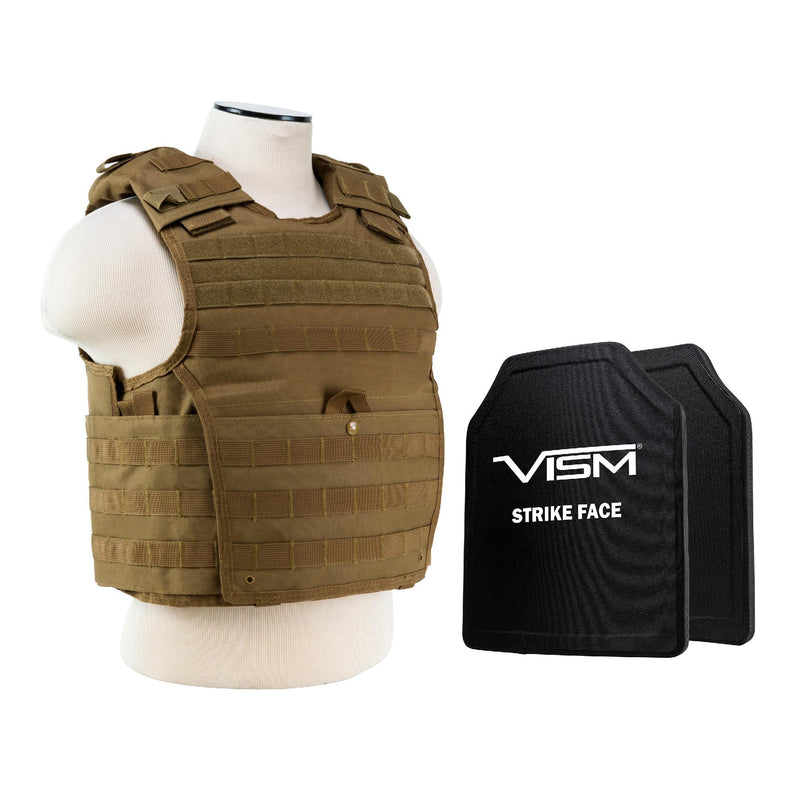 "Expert Carrier Vest with 10"" x 12"" PE Hard Plates - Tan"
