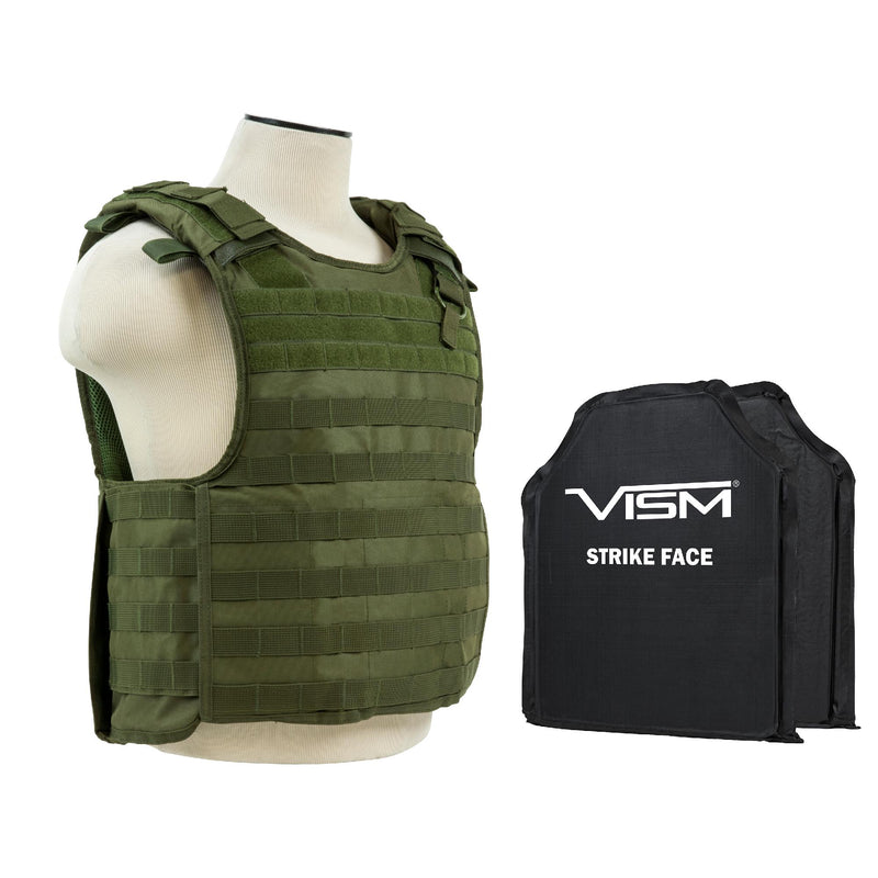 "QR Plate Carrier Vest with 10"" x 12"" Soft Panels - Green"