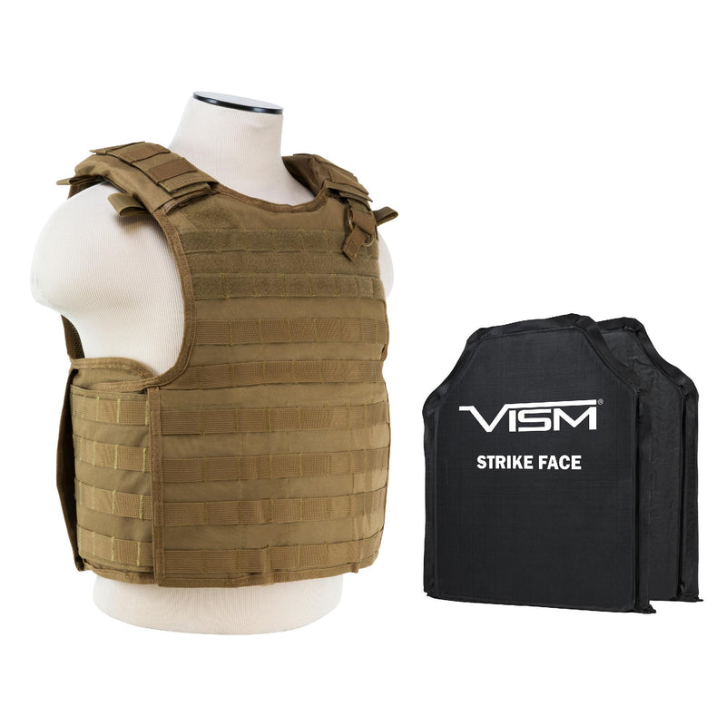 "QR Plate Carrier Vest with 10"" x 12"" Soft Panels - Tan"