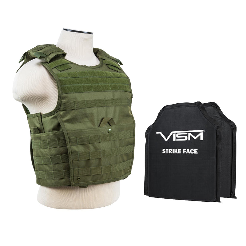 "Expert Plate Carrier Vest with 10"" x 12"" Soft Panels - Green"