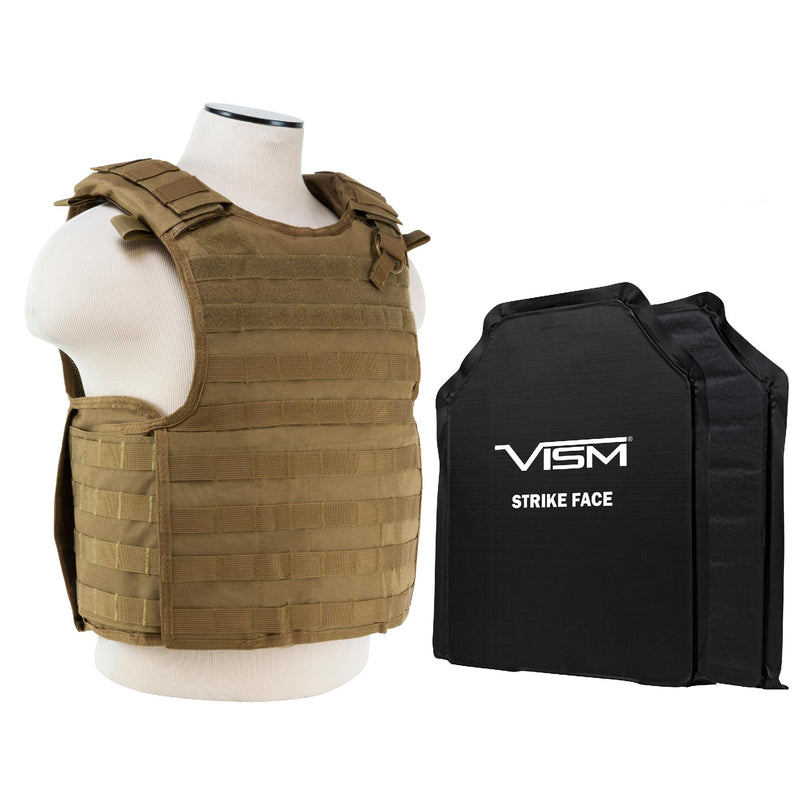 "QR Plate Carrier Vest with 11"" x 14"" Soft Panels - Tan"