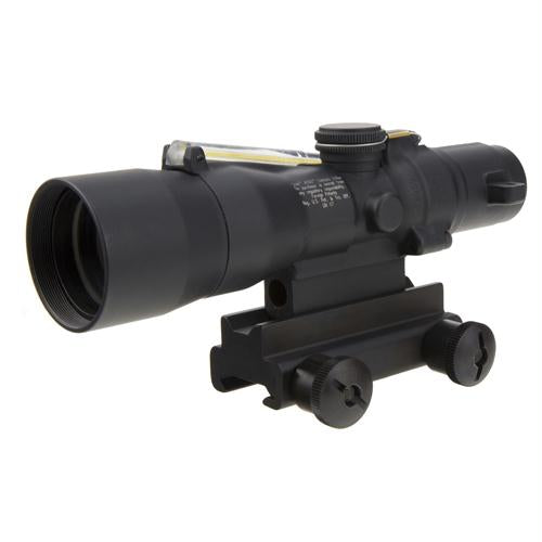 ACOG 3x30mm Compact Dual Illuminated Scope - Amber Chevron .223-62gr Ballistic Reticle with Colt Knob Thumbscrew Mount, Blk