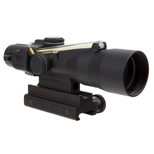 ACOG 3x30mm Compact Dual Illuminated Scope - Amber Chevron 7.62x51mm-175gr Ball Reticle with Colt Knob Thumbscrew Mount, Blk