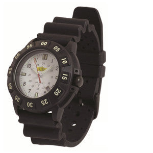 UZI Protector Tritium H3 Watch with Rubber Strap - Black, White, Red Face