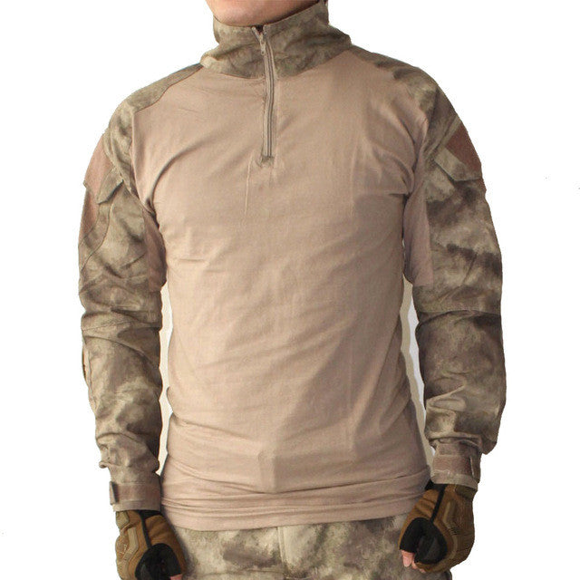 Camouflage Tactical Uniform Combat Shirt with Elbow Pads