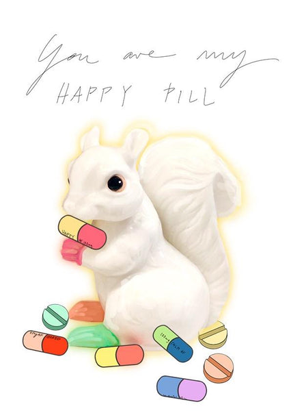 Squirrel Happy Pill Greeting Card
