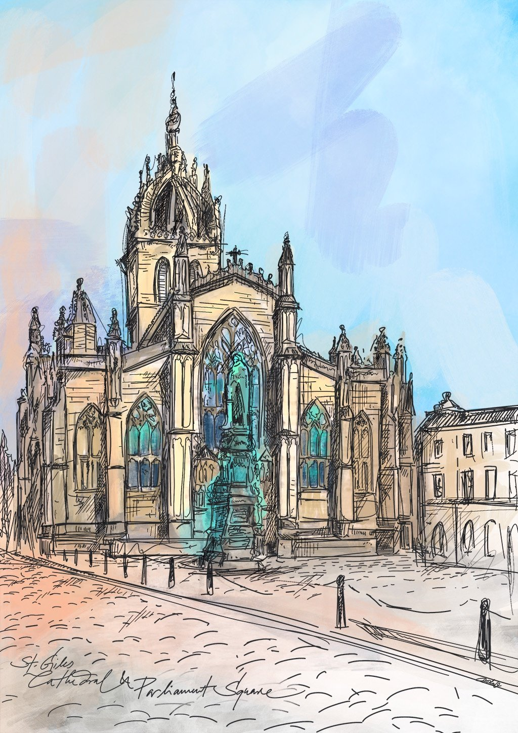 St Giles Cathedral & Parliament Square A3 Print
