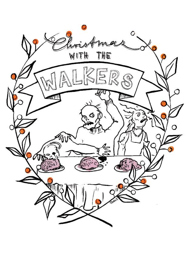Greeting card featuring an illustration of a zombie family having a christmas dinner of brains