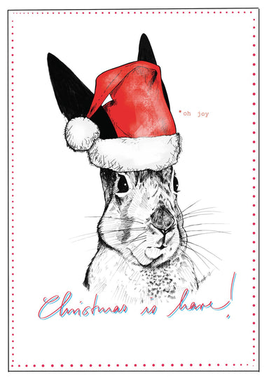 This image is of a card which features an ink drawing of a hare wearing a christmas hat.