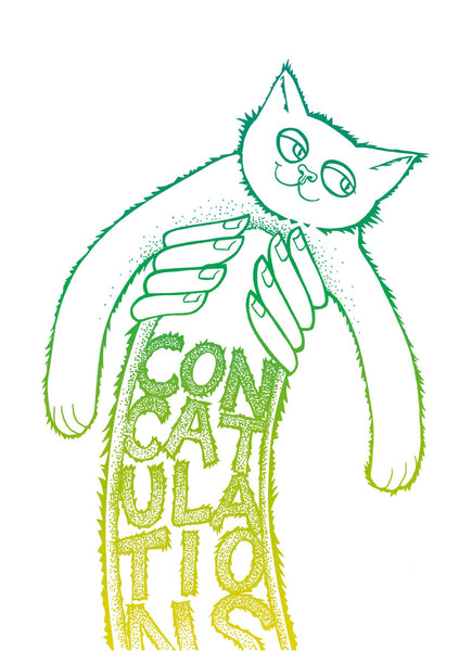 Concatulations Stretchy Kitty Greeting Card