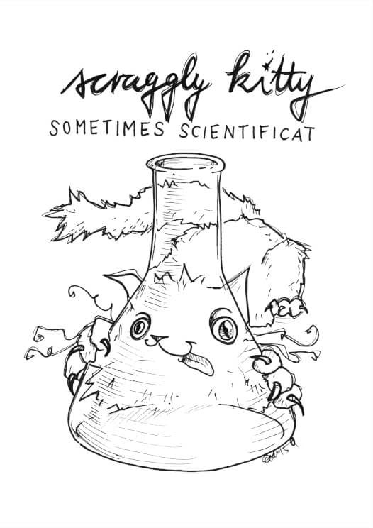 Scraggly Kitty Sometimes Scientificat A5 Print