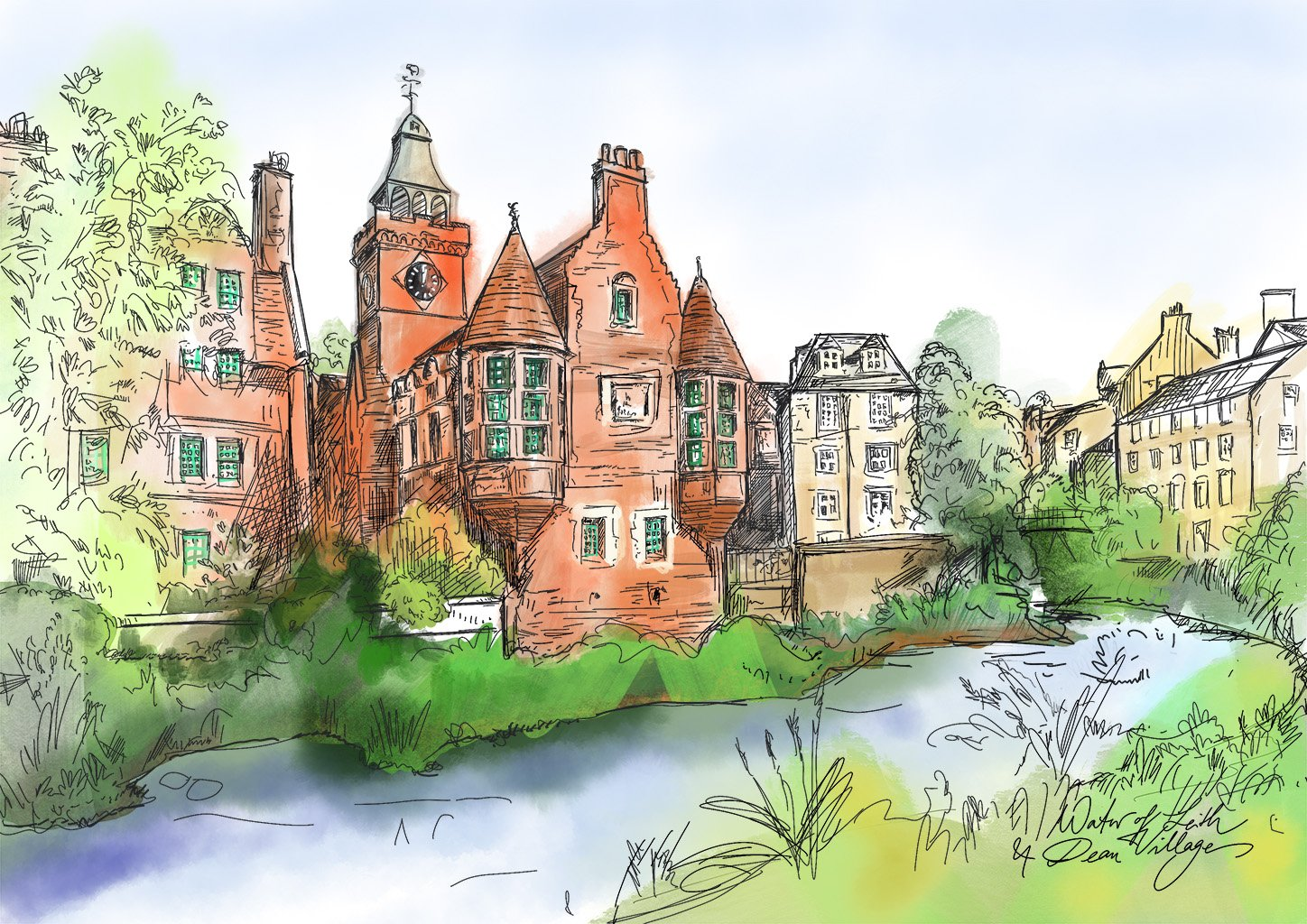 Water Of Leith & Dean Village A4 Print