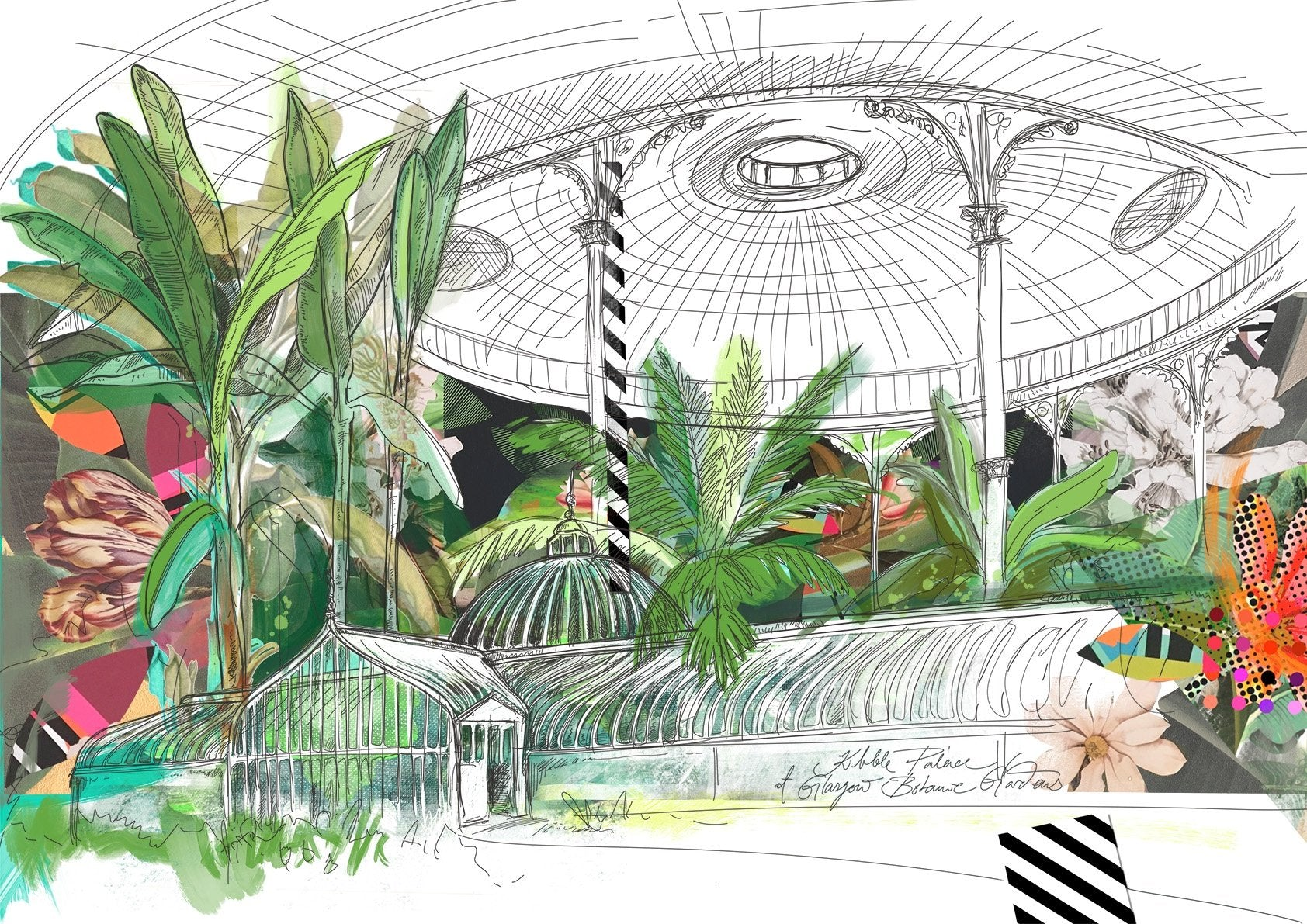 Kibble Palace of Glasgow Botanic Gardens A4 Print