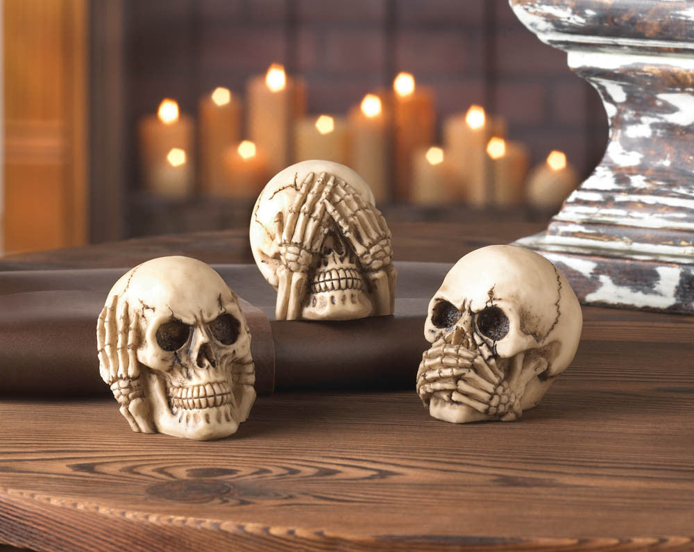 skulls hear no speak no see no evil halloween decoration gothic alternative home decor