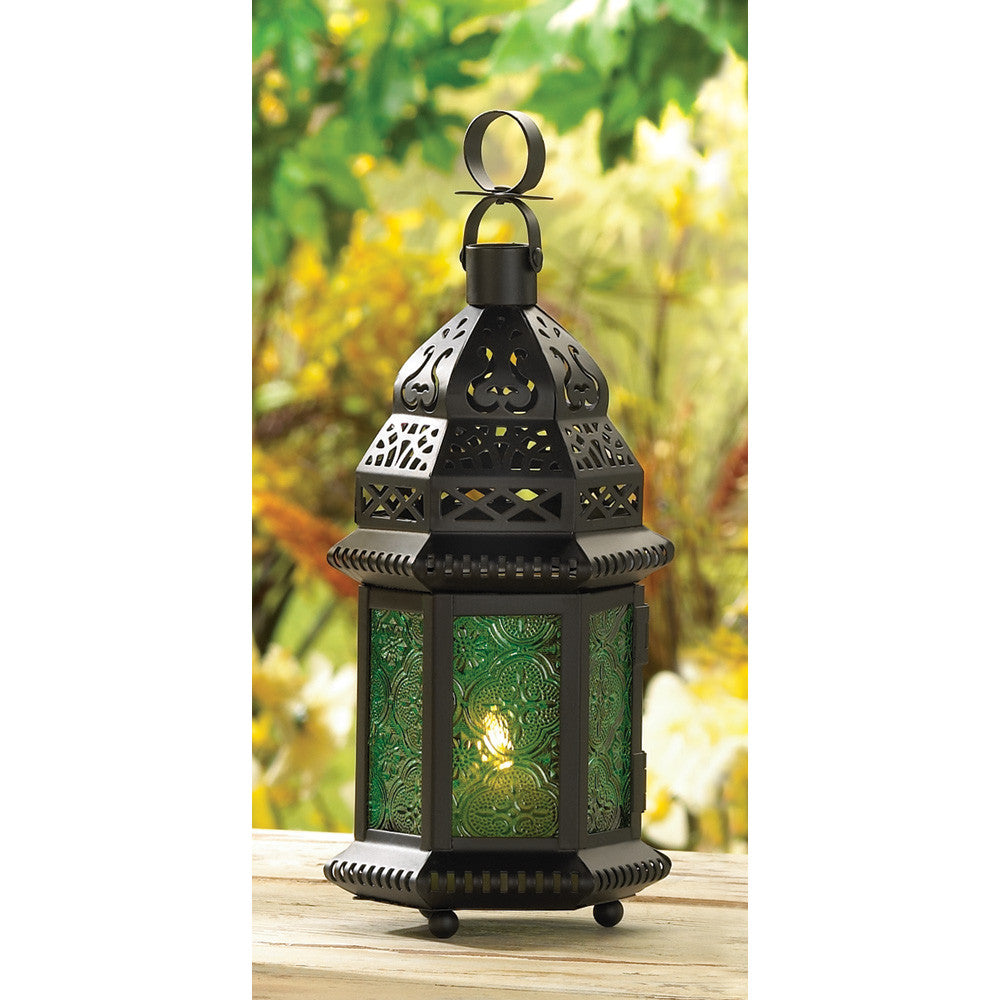 Green Glass Candle Lantern