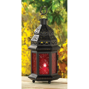 red glass candle lantern