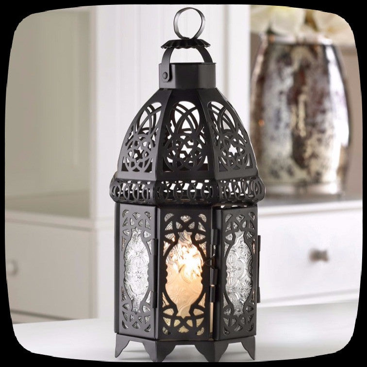 black lattice lantern gothic home decor