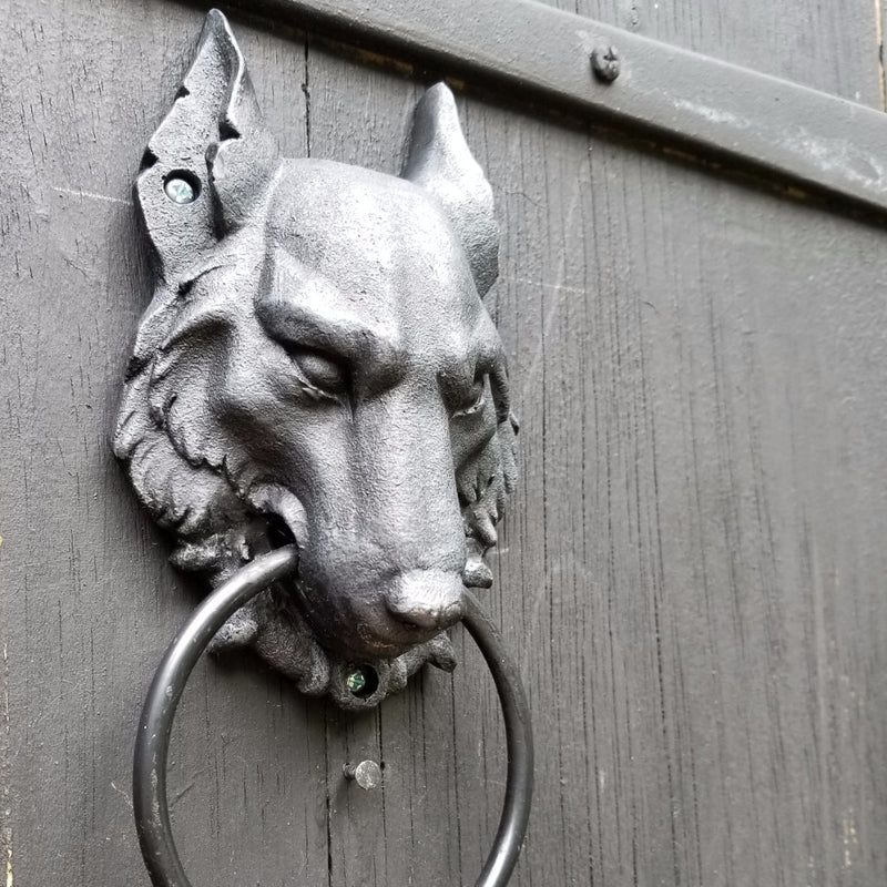 wolf dog door knocker gothic home decor alternative outdoor decor halloween decoration